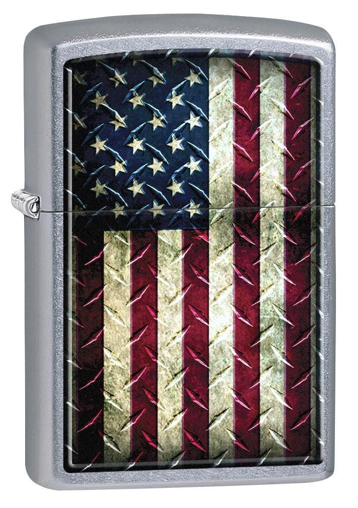 Zippo Lighter: Industrial United States Flag - Street Chrome 78633 - Gear Exec
