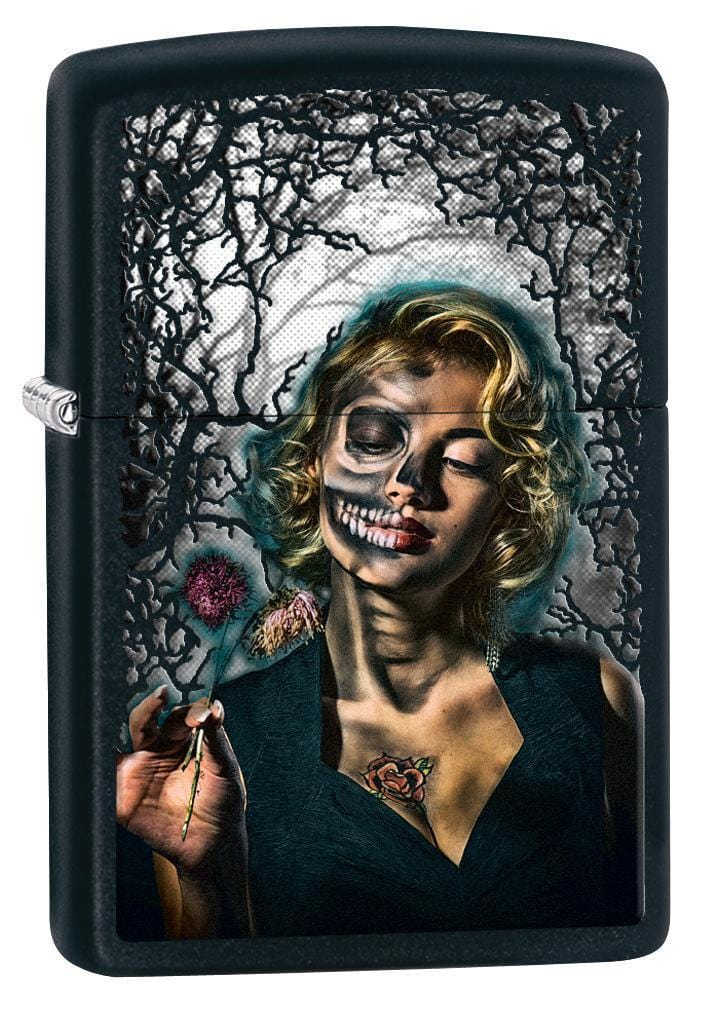 Zippo Lighter: Half Skeleton Pin-Up Girl - Black Matte 78636 - Gear Exec