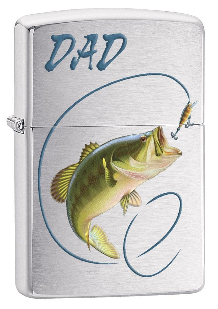 Zippo Lighter: Dad, Bass Fishing - Brushed Chrome 78657 - Gear Exec (1975612145779)