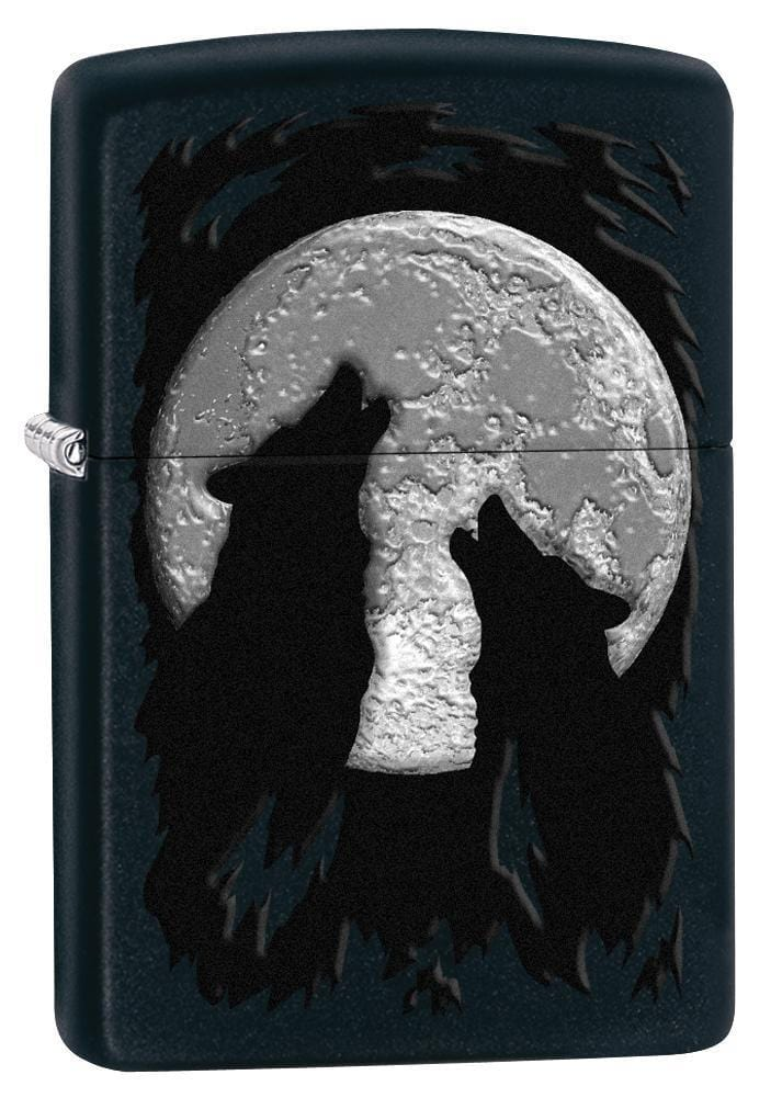 Zippo Lighter: Wolves Howling at the Moon - Black Matte 78660
