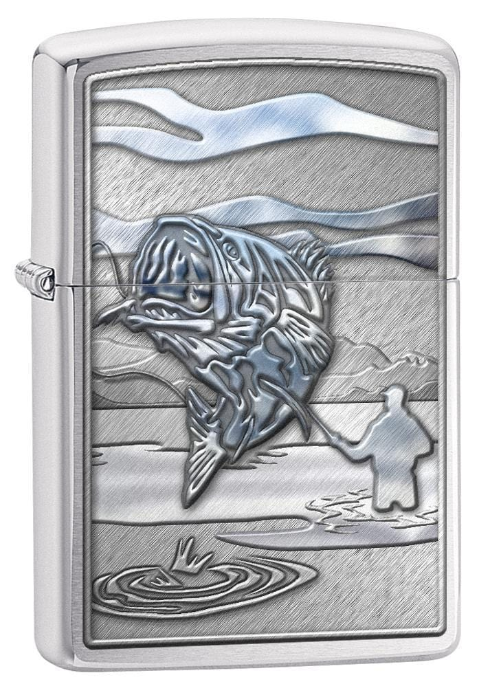 Zippo Lighter: Fishing, Jumping Bass - Brushed Chrome 78663 - Gear Exec (1975612211315)