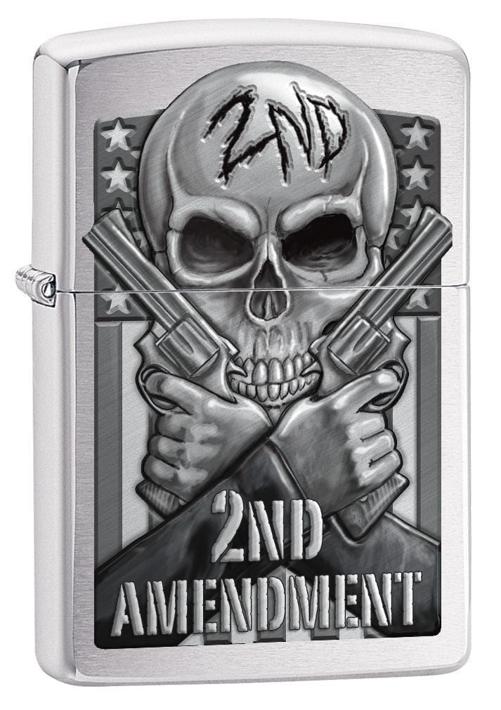 Zippo Lighter: Second Amendment, Skull and Guns - Brushed Chrome 78702