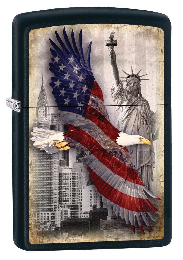 Zippo Lighter: Bald Eagle and New York City - Black Matte 78717 - Gear Exec