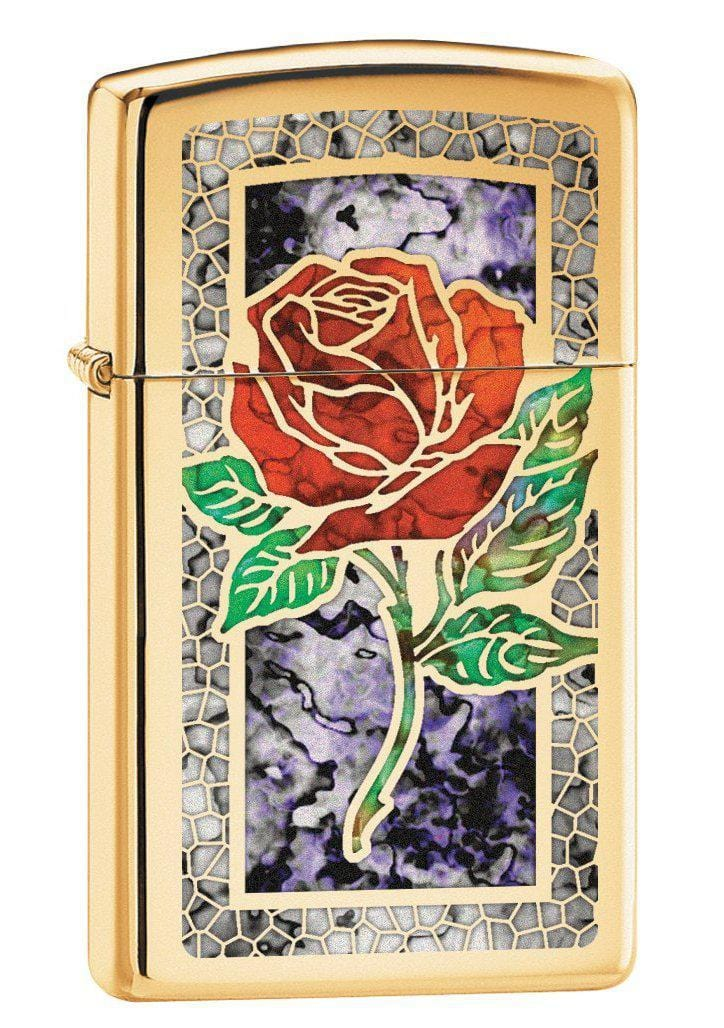 Zippo Lighter: Slim Fusion Rose - High Polish Brass 78750 (1975613587571)