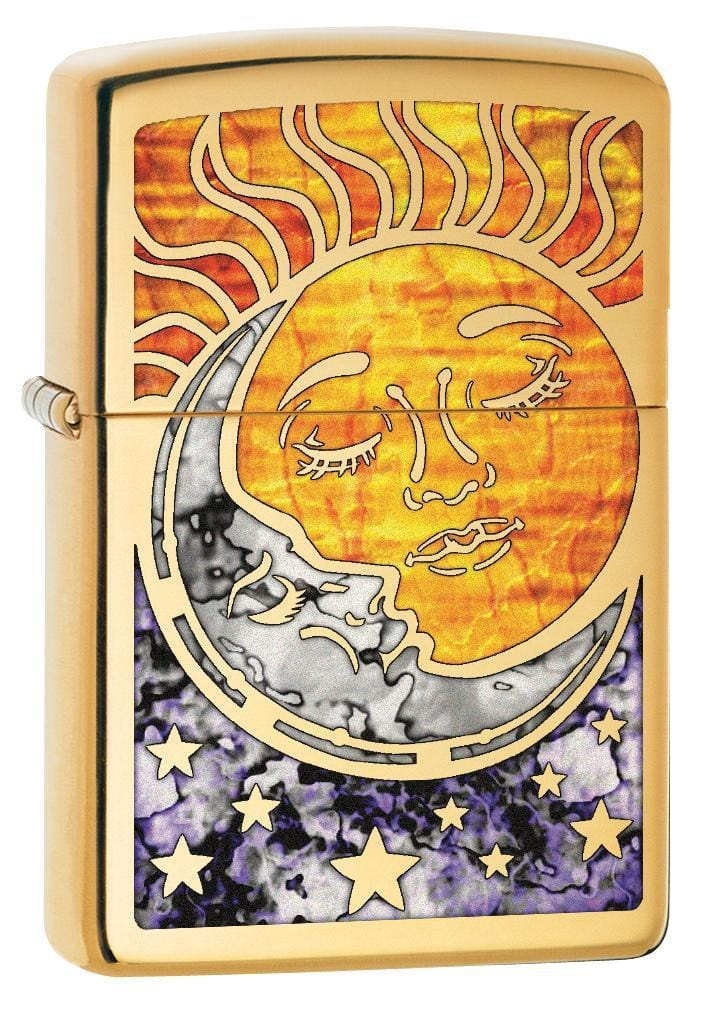 Zippo Lighter: Fusion Sun and Moon - High Polish Brass 78780 - Gear Exec