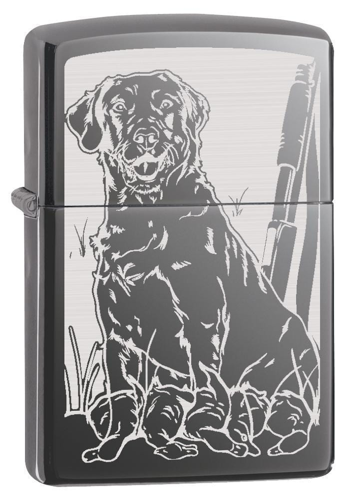 Zippo Lighter: Hunting Dog with Ducks - Black Ice 78807 - Gear Exec (1975614374003)
