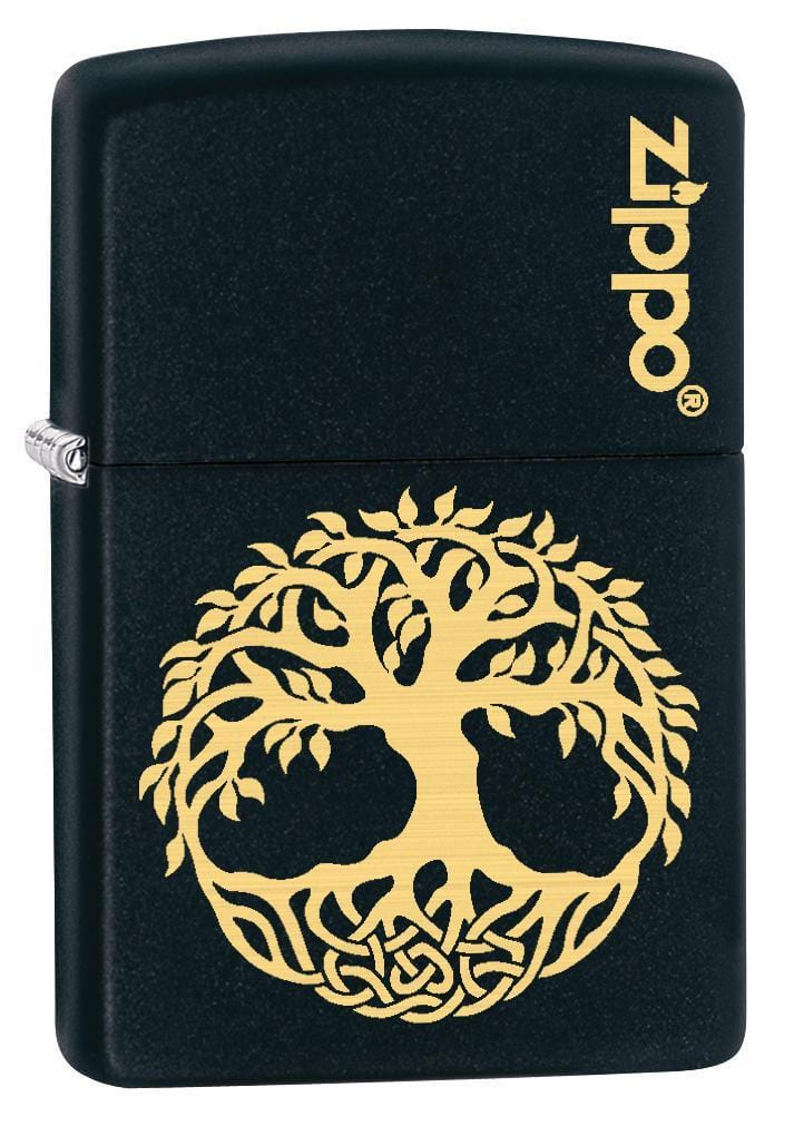 Zippo Lighter: Engraved Tree of Life - Black Matte 78813 - Gear Exec