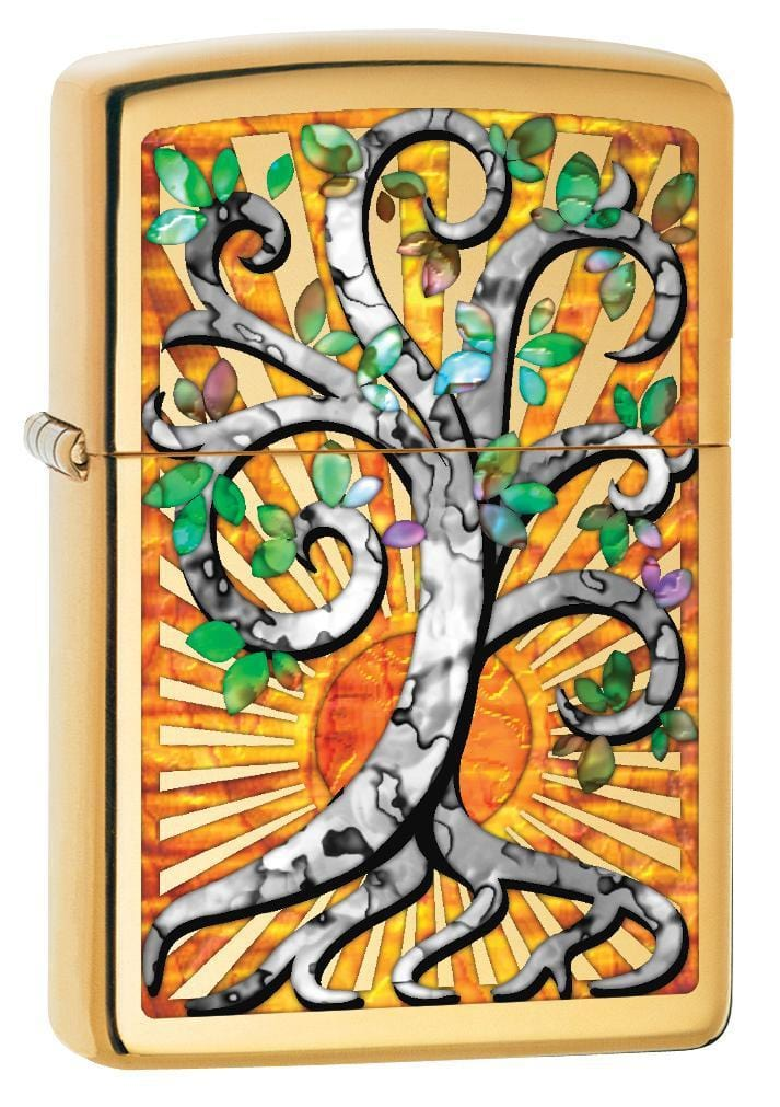Zippo Lighter: Fusion Tree of Life - High Polish Brass 78816 - Gear Exec