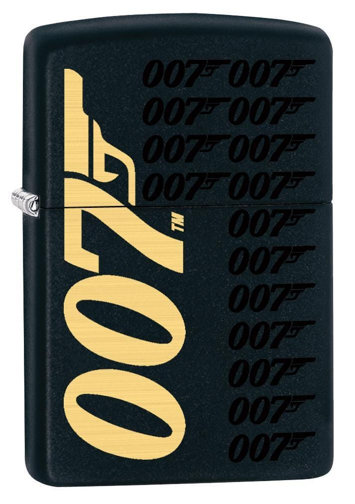Zippo Lighter: James Bond 007 Logos - Black Matte 78873 (1975615357043)