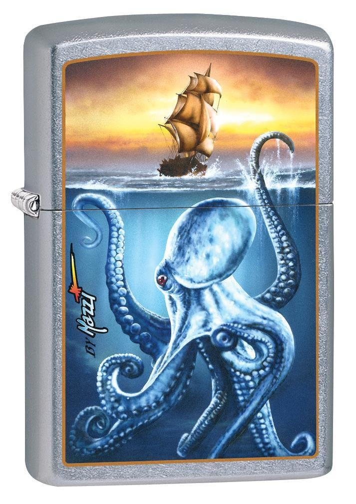 Zippo Lighter: Mazzi Octopus and Ship - Street Chrome 78888 (1975615586419)