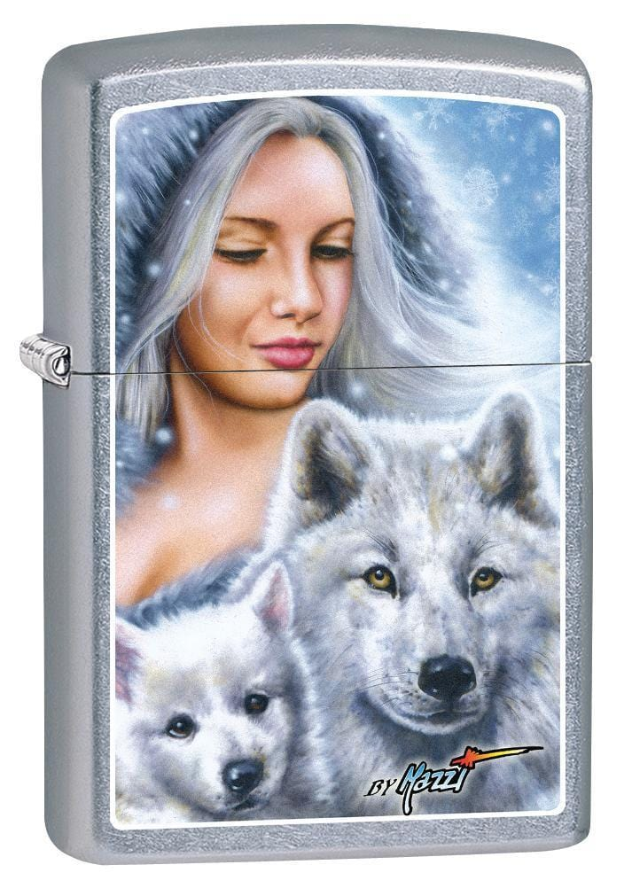 Zippo Lighter: Mazzi Lady with Wolves - Street Chrome 78891