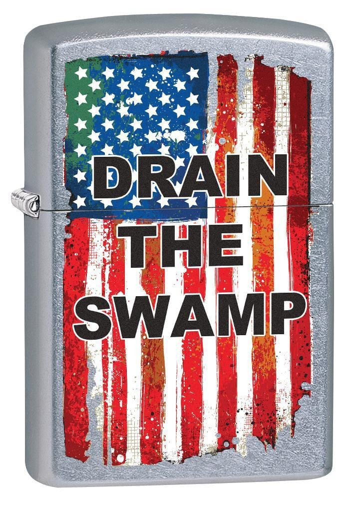 Zippo Lighter: Drain the Swamp, American Flag - Street Chrome 79092 - Gear Exec
