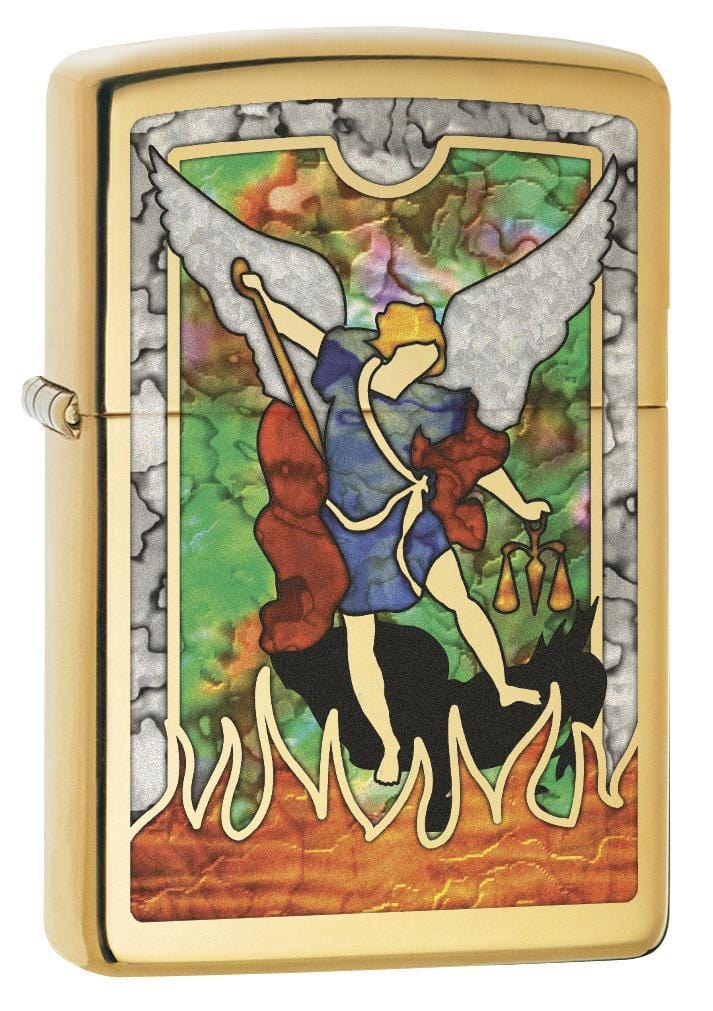 Zippo Lighter: Saint Michael the Archangel, Fusion - High Polish Brass 79107 (1975618764915)