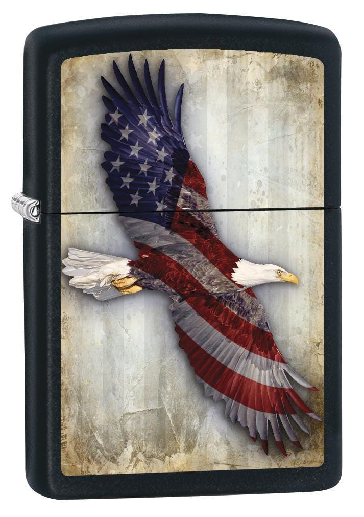 Zippo Lighter: American Flag, Bald Eagle - Black Matte 79110 - Gear Exec