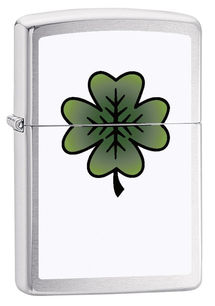 Zippo Lighter: Four Leaf Clover - Brushed Chrome 79113 - Gear Exec (1975618863219)