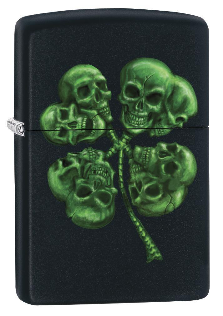 Zippo Lighter: Four Leaf Clover Skulls - Black Matte 79164 - Gear Exec (1975619584115)