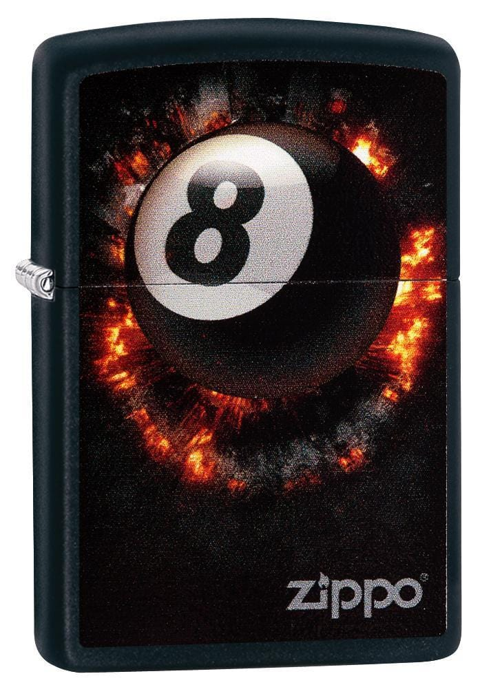 Zippo Lighter: Eight Ball on Fire - Black Matte 79188 - Gear Exec