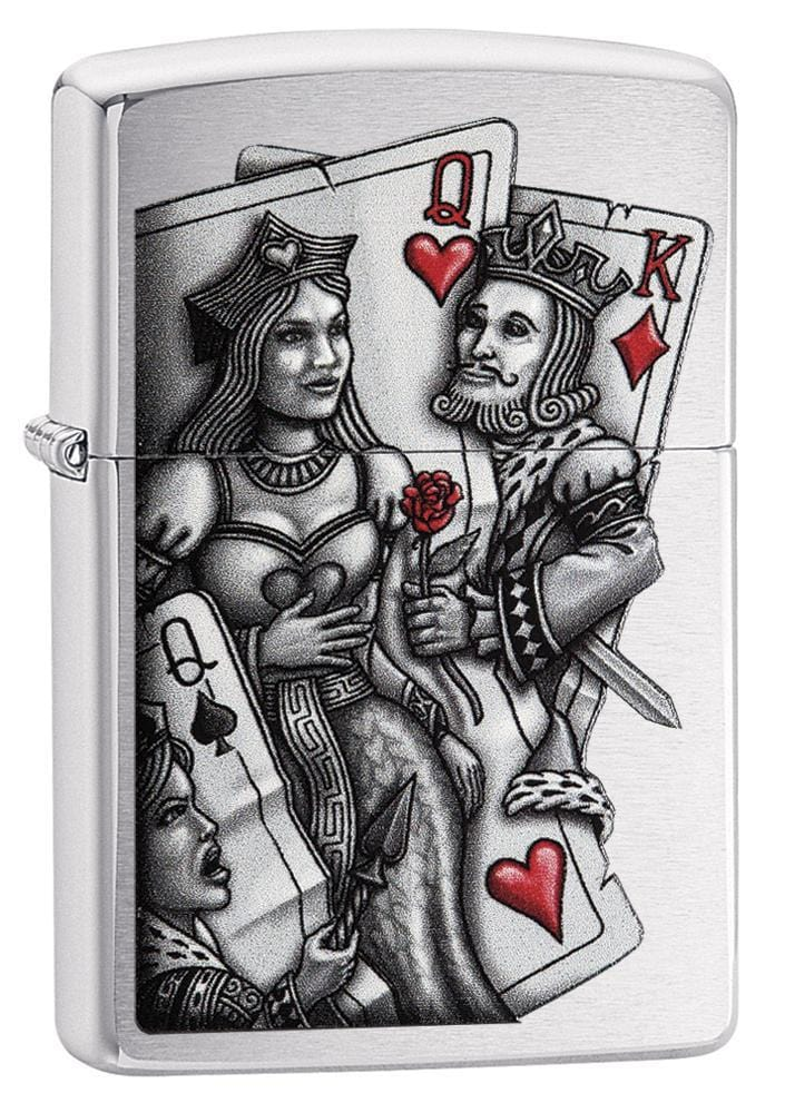 Zippo Lighter: King and Queen - Brushed Chrome 79206 (1975620173939)