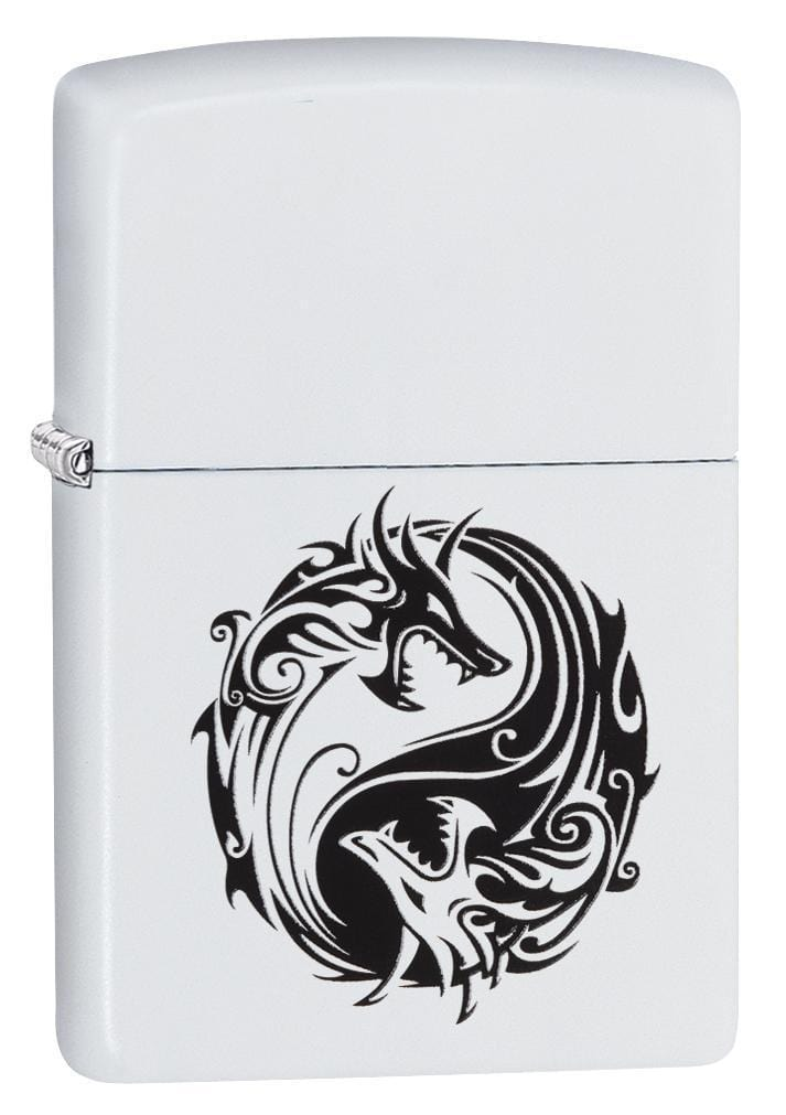 Zippo Lighter: Yin and Yang Dragons - White Matte 79215