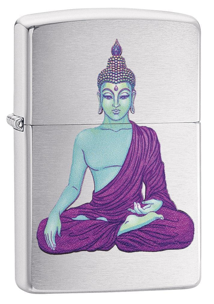 Zippo Lighter: Buddha in Purple - Brushed Chrome 79218 - Gear Exec (1975620501619)