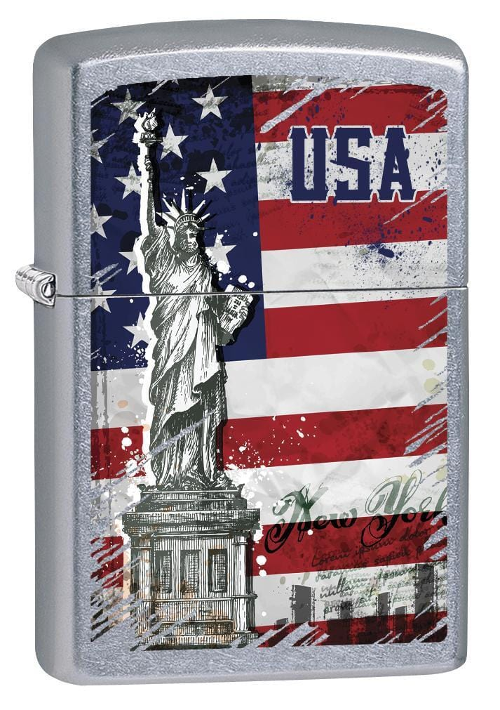 Zippo Lighter: Statue of Liberty and American Flag - Street Chrome 79227