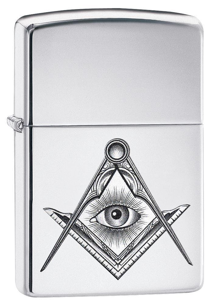 Zippo Lighter: Masonic Compass and Square - High Polish Chrome 79242