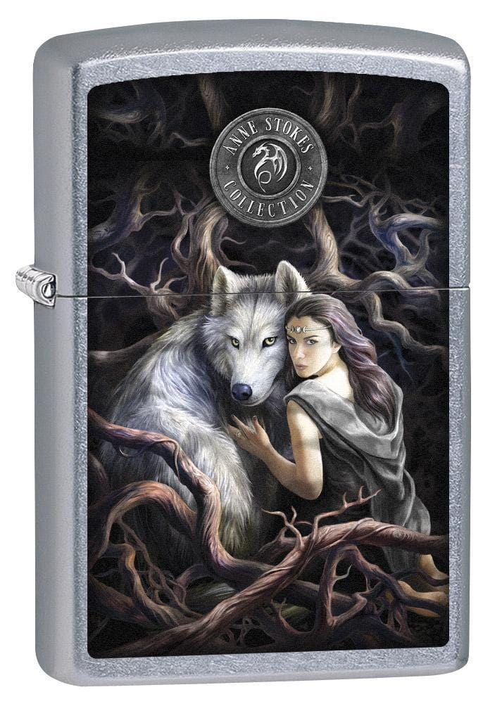 Zippo Lighter: Anne Stokes Soul Bond, Woman With Wolf - Street Chrome 79266 - Gear Exec (1975621419123)