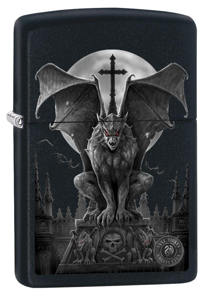 Zippo Lighter: Anne Stokes Gargoyle and Full Moon - Black Matte 79269 - Gear Exec