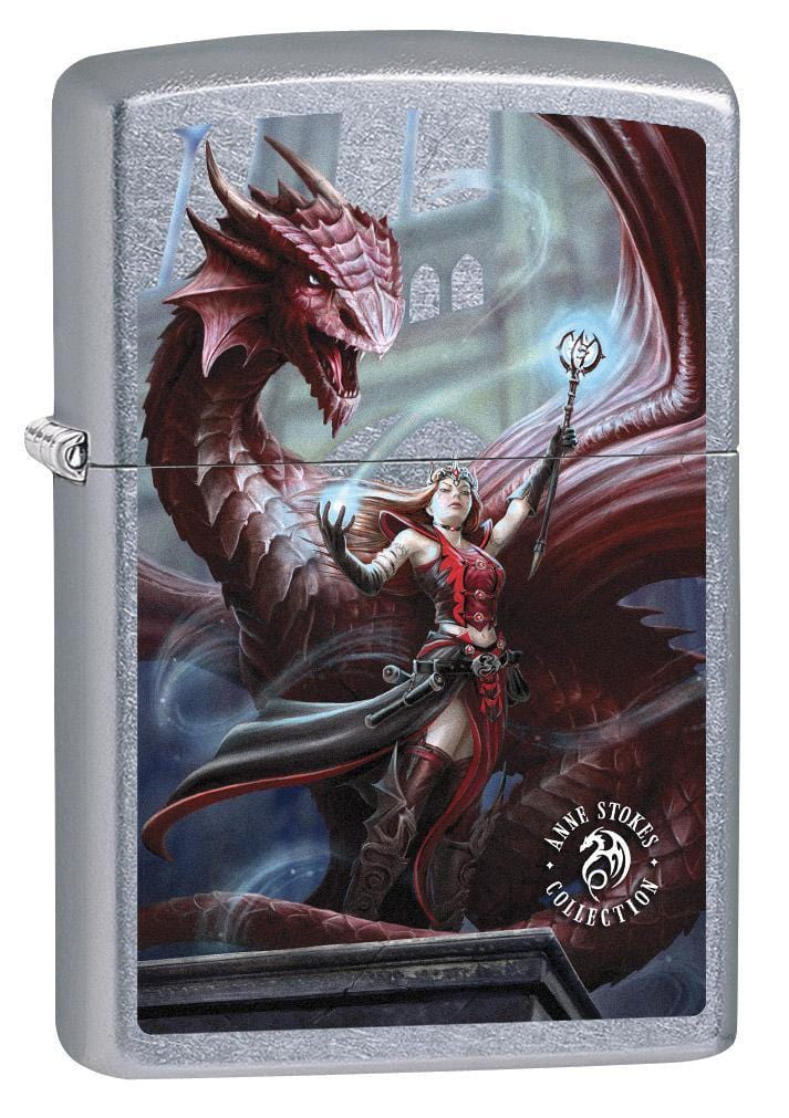 Zippo Lighter: Anne Stokes Sorceress and Dragon - Street Chrome 79275 - Gear Exec