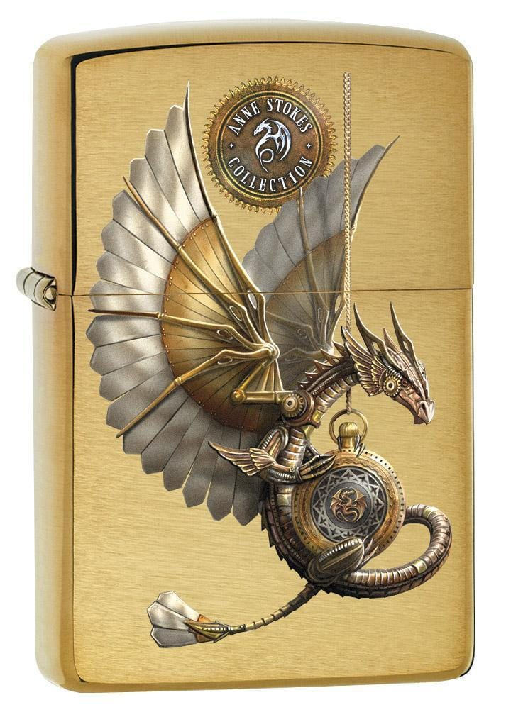 Zippo Lighter: Anne Stokes Steampunk Dragon - Brushed Brass 79281 - Gear Exec (1975621779571)