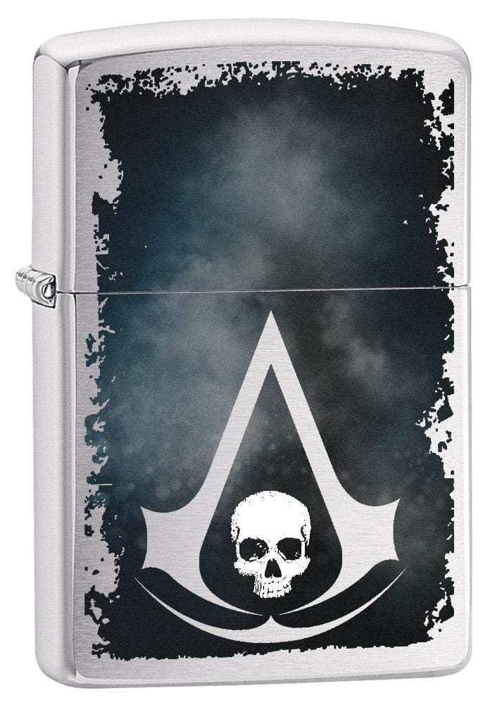 Zippo Lighter: Assassins Creed Logo and Skull - Brushed Chrome 79299 - Gear Exec