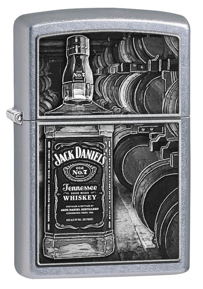 Zippo Lighter: Jack Daniels Bottle and Barrels - Street Chrome 79338