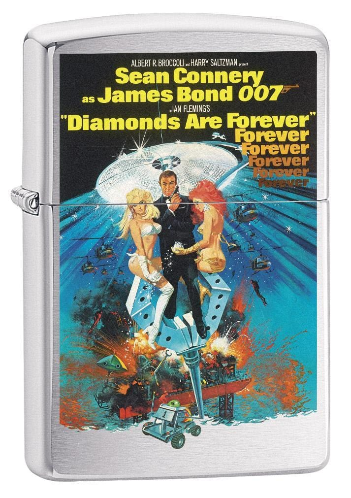 Zippo Lighter: James Bond 007 Diamonds Are Forever - Brushed Chrome 79350