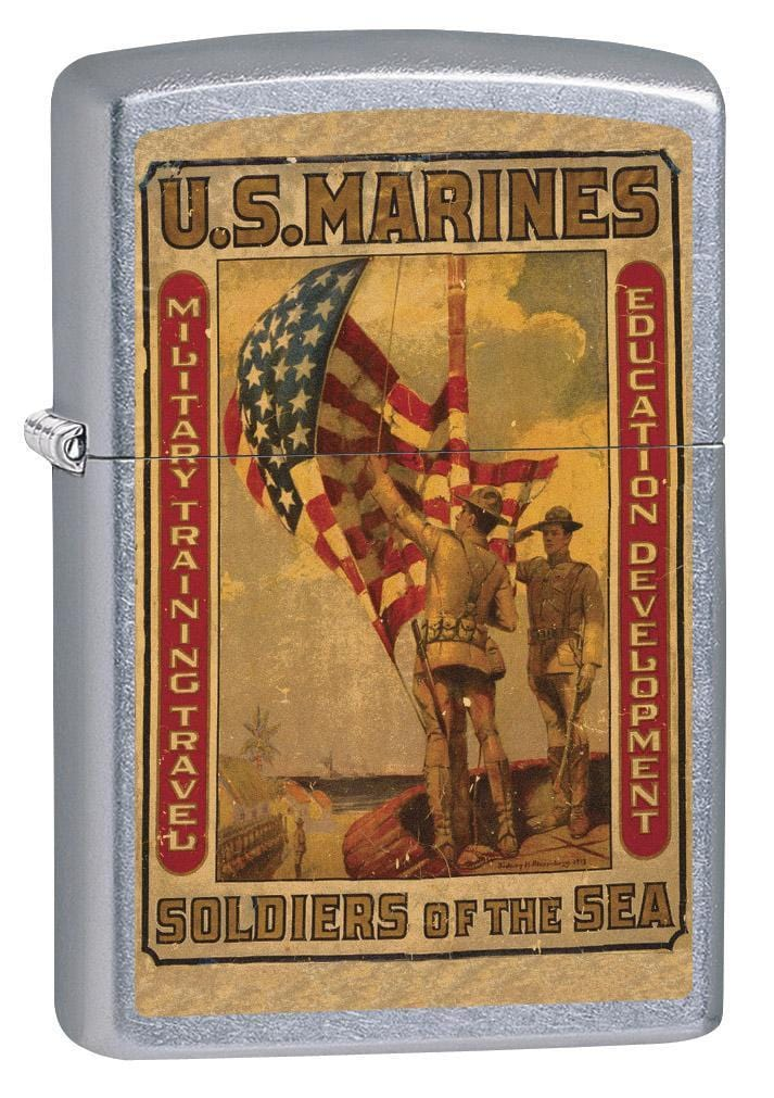 Zippo Lighter: Military Poster, US Marines Soldiers of the Sea - Street Chrome 79362 (1975623647347)