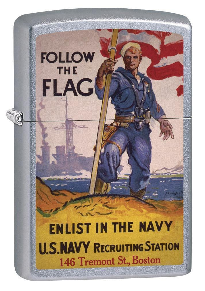 Zippo Lighter: Military Poster, US Navy Follow the Flag - Street Chrome 79368