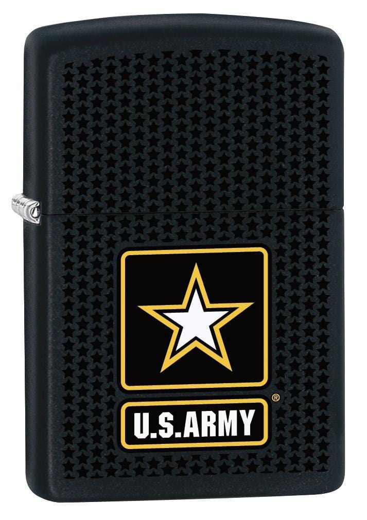 Zippo Lighter: US Army Logo with Stars - Black Matte 79431