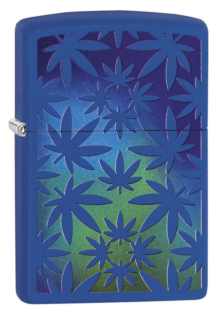 Zippo Lighter: Marijuana Leaves - Royal Blue Matte 79443