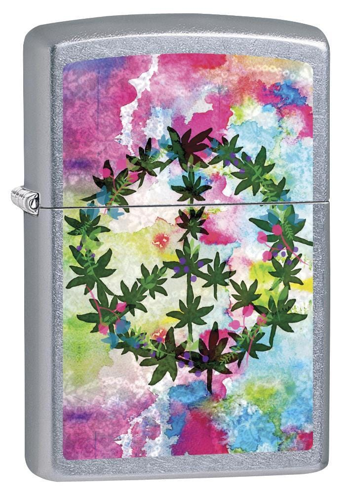 Zippo Lighter: Marijuana Leaf Peace Sign - Street Chrome 79458