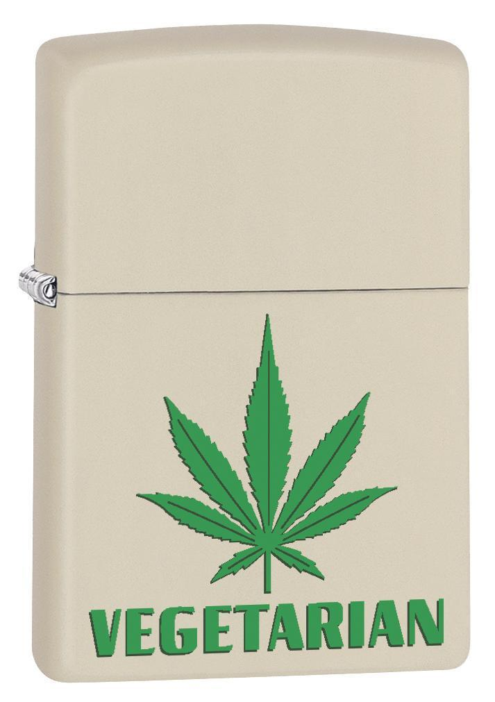 Zippo Lighter: Marijuana Leaf, Vegetarian - Cream Matte 79461