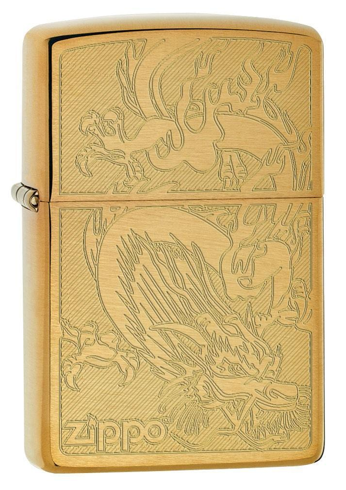 Zippo Lighter: Dragon, Engraved - Brushed Brass 79464 - Gear Exec