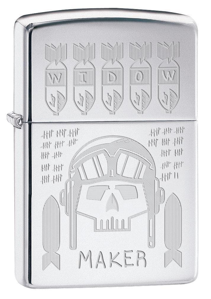 Zippo Lighter: Widow Maker Skull, Trench Art - High Polish Chrome 79467