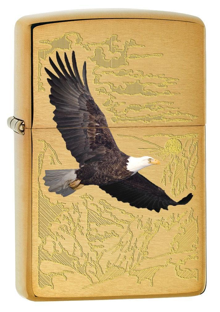 Zippo Lighter: Bald Eagle with Engraved Background - Brushed Brass 79470 - Gear Exec