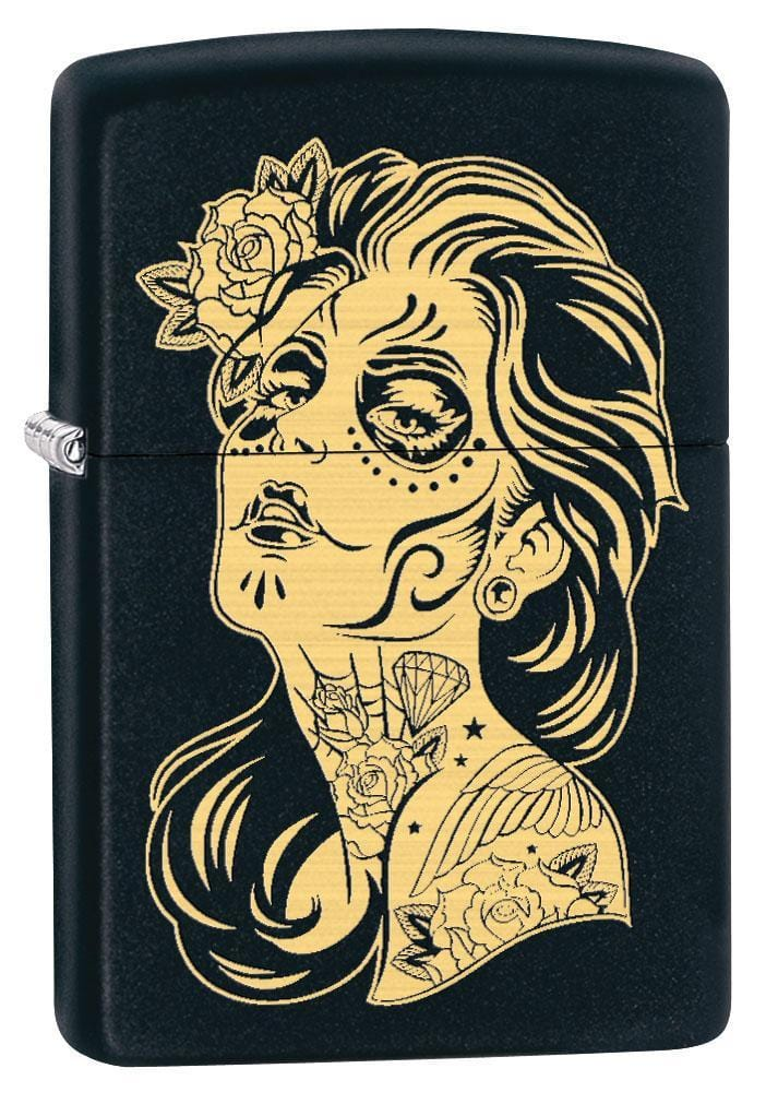 Zippo Lighter: Day of the Dead Girl, Engraved - Black Matte 79494 - Gear Exec (1975625908339)
