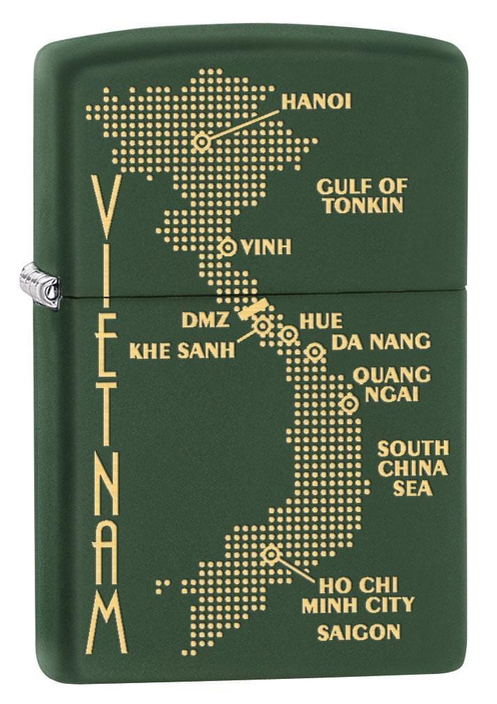 Zippo Lighter: Vietnam War Map - Green Matte 79506