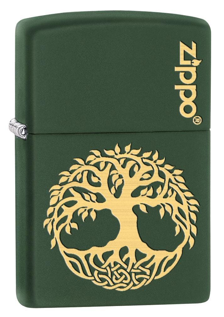Zippo Lighter: Engraved Tree of Life - Green Matte 79509 - Gear Exec