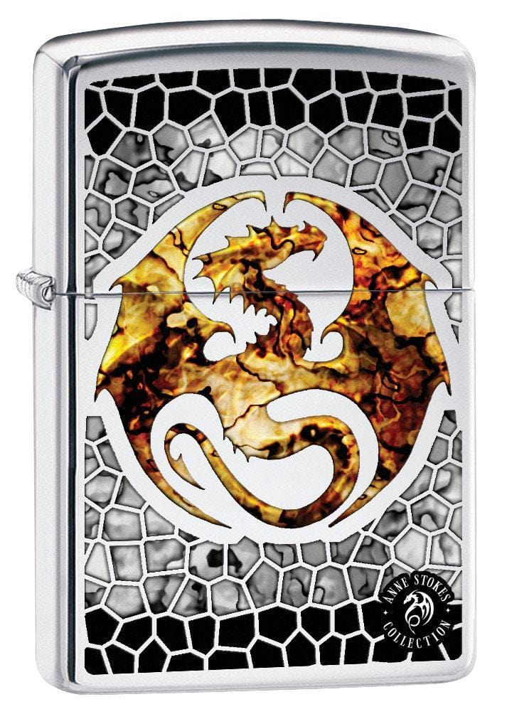 Zippo Lighter: Anne Stokes Dragon, Fusion - High Polish Chrome 79512 - Gear Exec