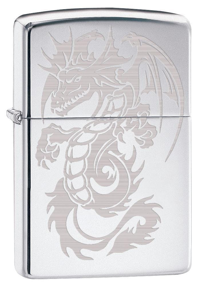 Zippo Lighter: Dragon with Wings, Engraved - High Polish Chrome 79518 - Gear Exec