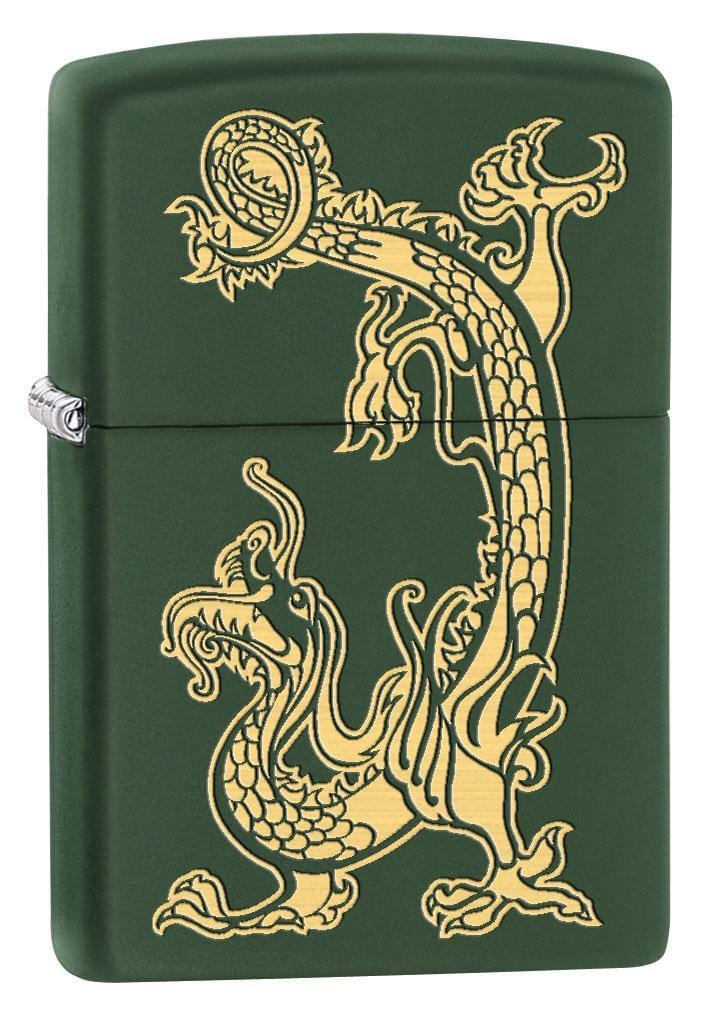 Zippo Lighter: Engraved Dragon - Green Matte 79521 - Gear Exec