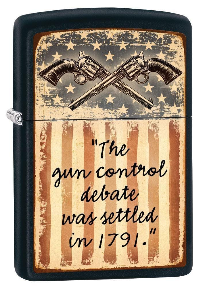 Zippo Lighter: Second Amendment, Gun Debate - Black Matte 79539 (1975626760307)