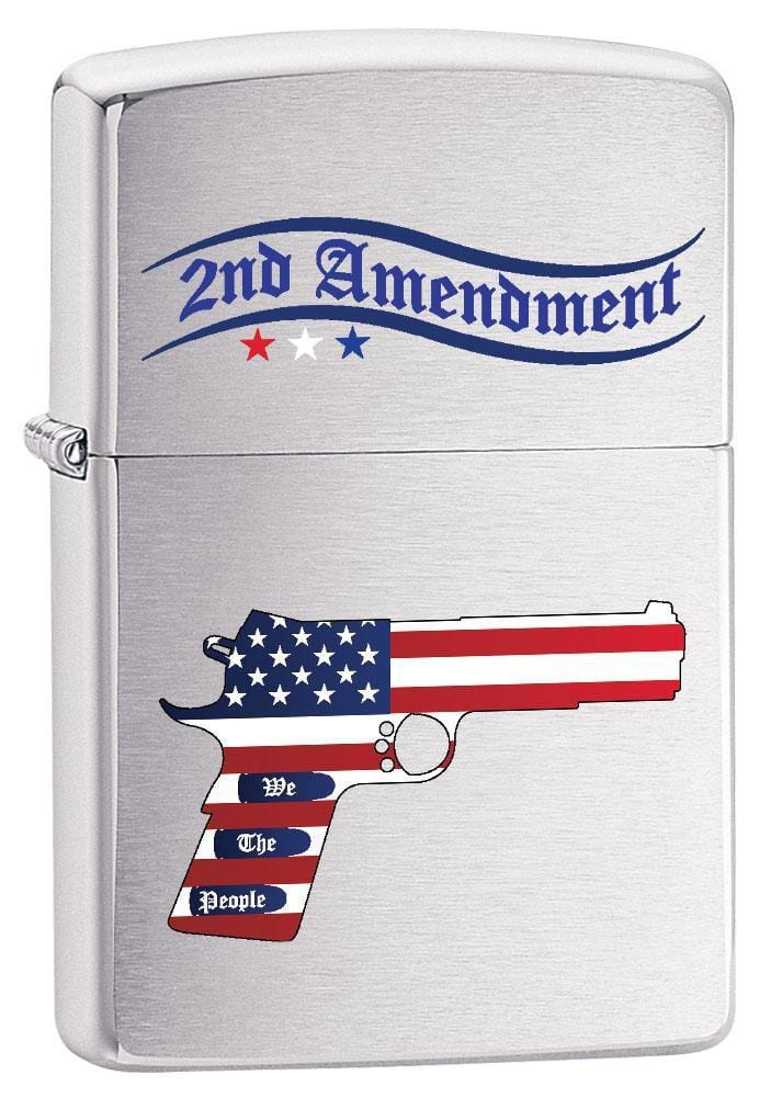 Zippo Lighter: Second Amendment Gun and American Flag - Brushed Chrome 79545